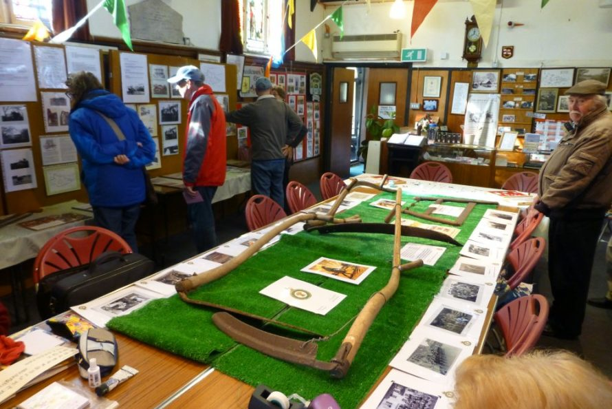 Some of the farm tools used on the island and a display of Land Army photos   Janet Penn