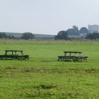 The Castle View School picnic tables on the edge of the airfield | Janet Penn
