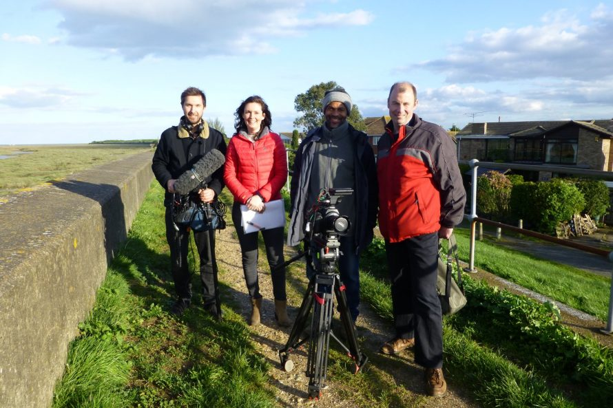 Michael Bower (Sound and Research), Lucie Green (presenter), Ian Watts (Camera), and Tom Cholmondeley (Producer/Director). | Janet Penn
