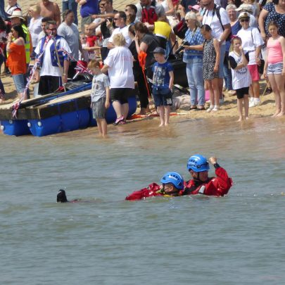 Coastguards giving rescue demonstrations