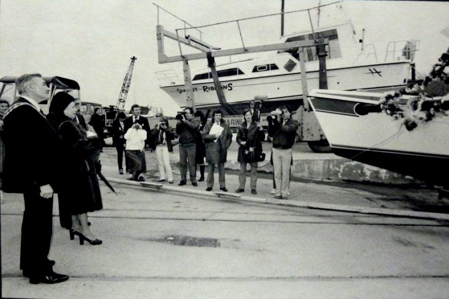 Princess Margaret with CPDC Chairman Peter Woods inspect the boatyard where she was about to launch a boat | Jeff Nevett