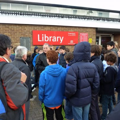 Graham Stevens talks to the boys about the history of Canvey Island   Janet Penn