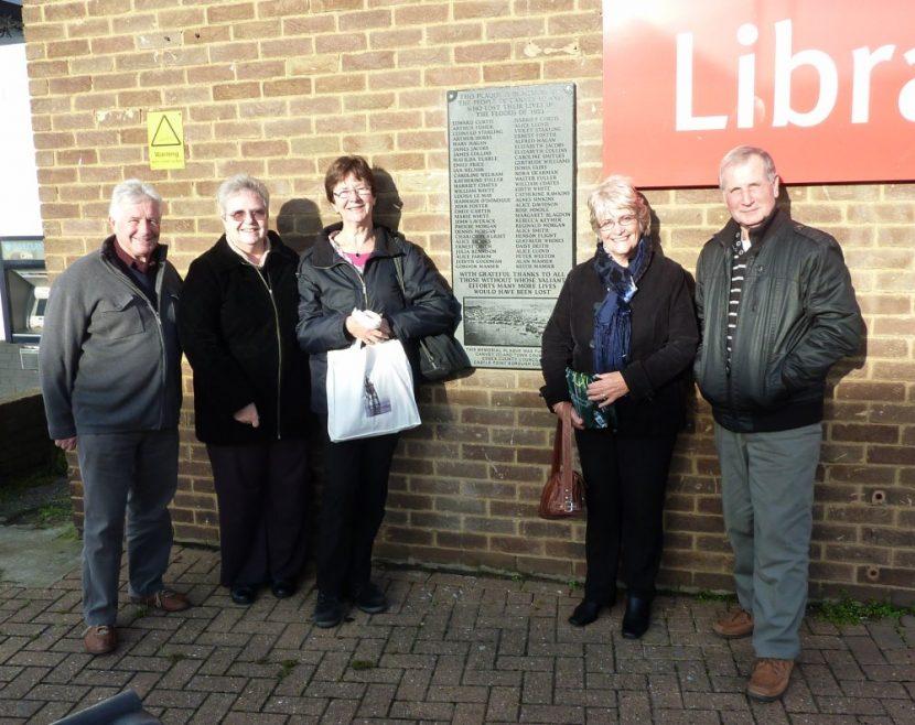 Rod Bishop, Janet Penn, Nellie Verton, Pat Smith and Graham Stevens by the Flood Memorial | Janet Penn