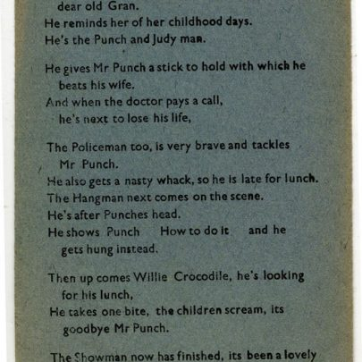 The Punch & Judy Man - A Poem by Paul Capser | Thanks to Joan Liddiard