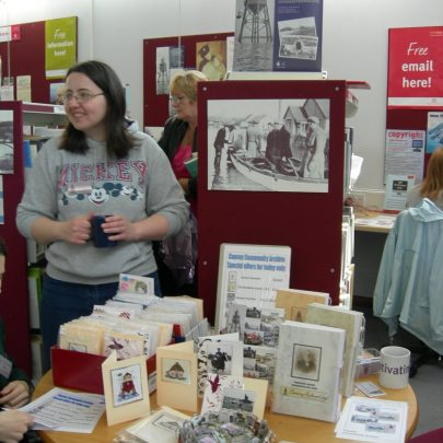 Lesley Penn and the Archive memorabilia stand | Janet Penn