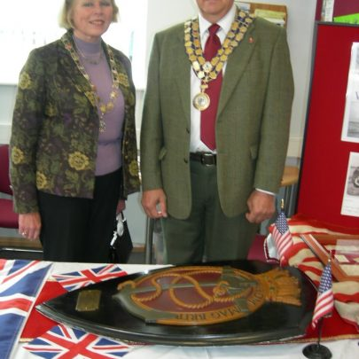 The Mayor with Canvey's War Ship Week Plaque | Janet Penn