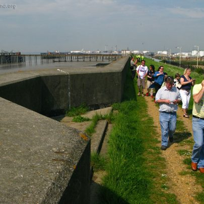 Here you can see the new Sea Wall was built around an old WW2 Pillbox   (c) David Bullock