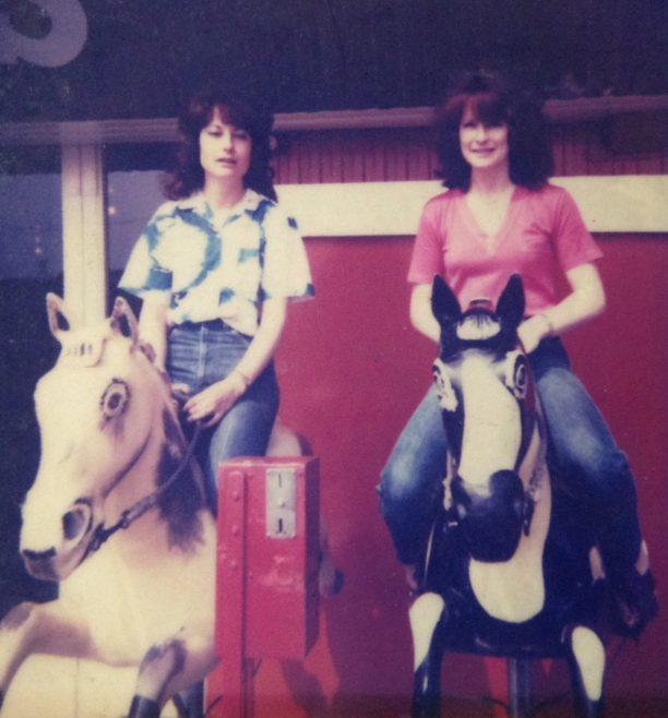 Liz and :ea Swann on the Casino Horses around 1980ish