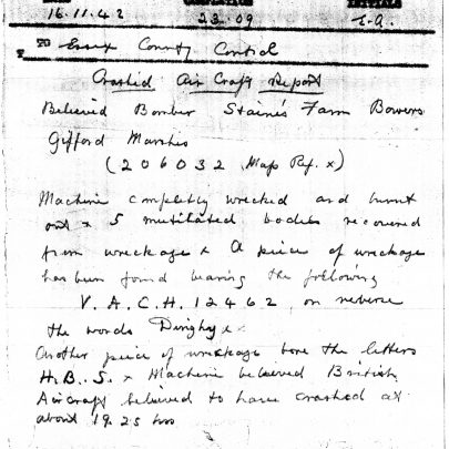 Air Raid Warden's Report, Nov 16 1942 | Essex County Archives