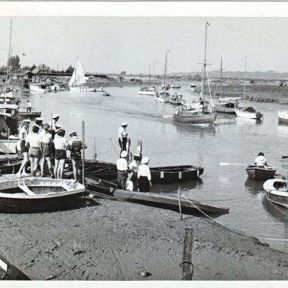 Regatta Benfleet Creek c1963 with their boat 'Dabchick' the first one with mast on the right