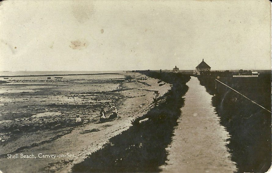 Sparsely built up Canvey's Shell Beach c1910. St Hughs is the square building on the right. Concord house can be seen in the distance.