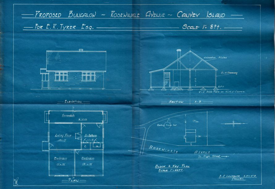 A typical plan for a Canvey Bungalow this time in Rosewinkle Avenue aka bottom half of May Avenue | Click to see enlargement