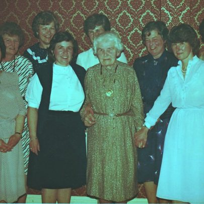 Madge receiving a medal from the Rotary Club in the 1970's. Avril Bowden far left. Betty Johnson back row and Pat Diamond (Hunt) holding Madge's hand on the right | Pat Hunt