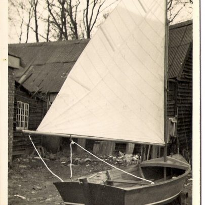 14ft Sailing dingy built in 1958 in the barn behind Prouts Yard at Small Gains | Mike Brown