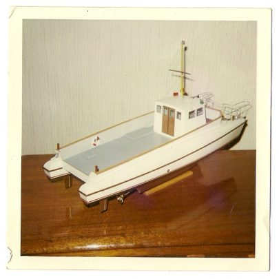 Model of UN catamaran exhibited in UN builing in NY 1963 | Mike Brown