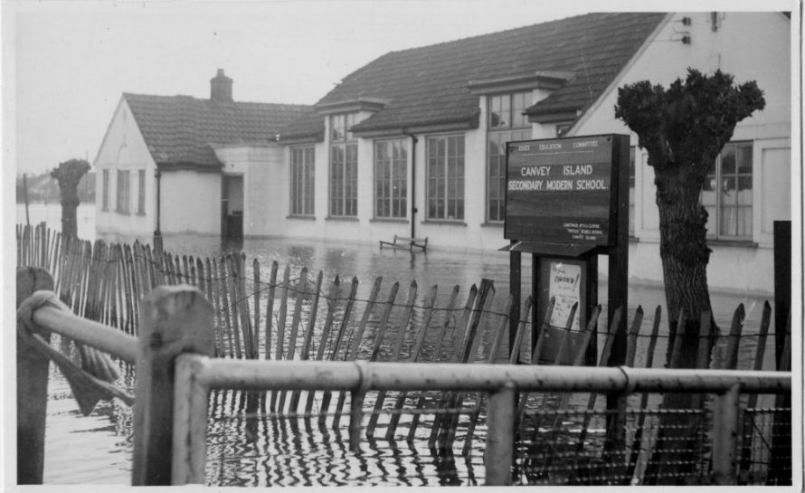 As Canvey Secondary Modern School during the flood