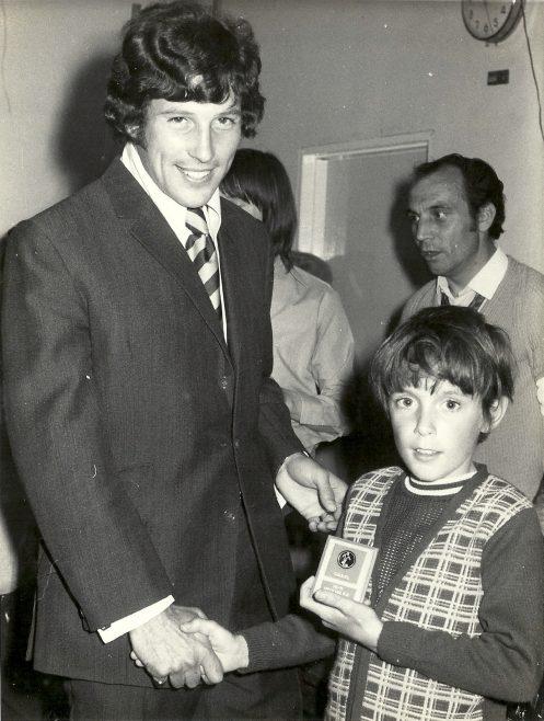 David Sickelmore receiving a football trophy. Anyone know the footballer?