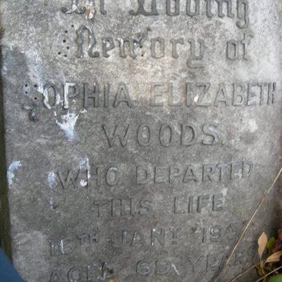 Sophia Elizabeth Woods 1868-1937 St Katherine's Graveyard | Janet Penn