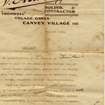 This invoice was for the purchase of a house by my grandfather in 1939. From what I remember being told, the sale didn't go through as the house was damaged when the oil refineries were bombed during the war, and my grandfather bought 'Hope Villa' in Korndyke Road. | George Payne