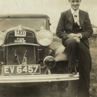 On the back of this photo is written 'Ted Payne with Reg Morgan's car 1939' and is signed Bill (Gower?). | George Payne