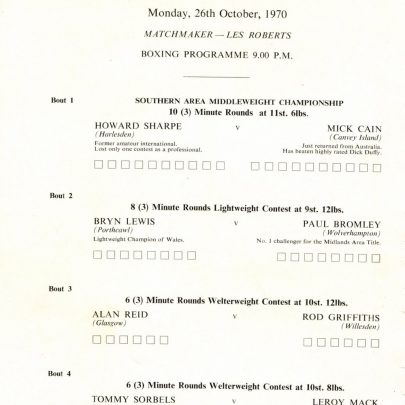 Boxing Tournament 1970   Mick Cain