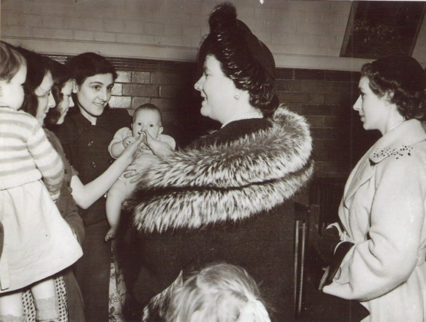 The Queen Mother visiting one of the rescue centres