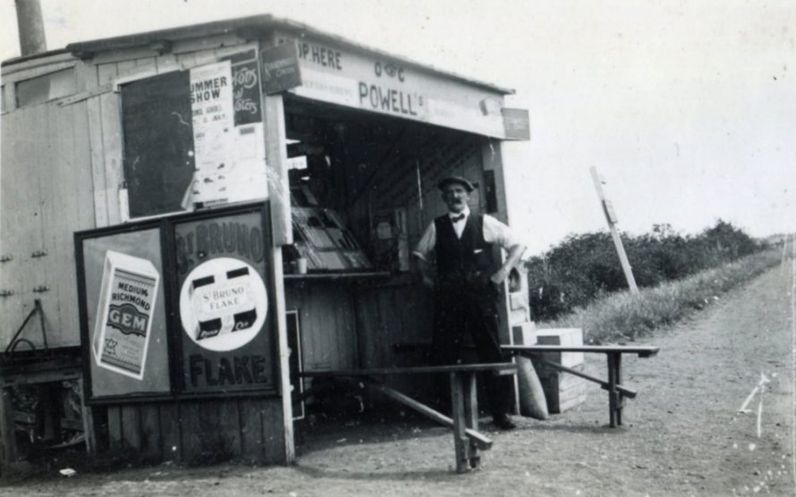 Mr Charlie Powell at his stall near the bus terminus. His properties always bore the sign