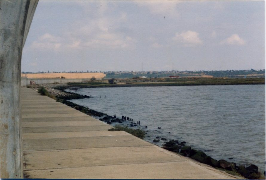 View of the concrete barge soon after the new seawall was built | Ernest Cutler