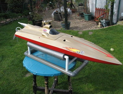 Deep V Mono Hull with modified petrol strimmer engine