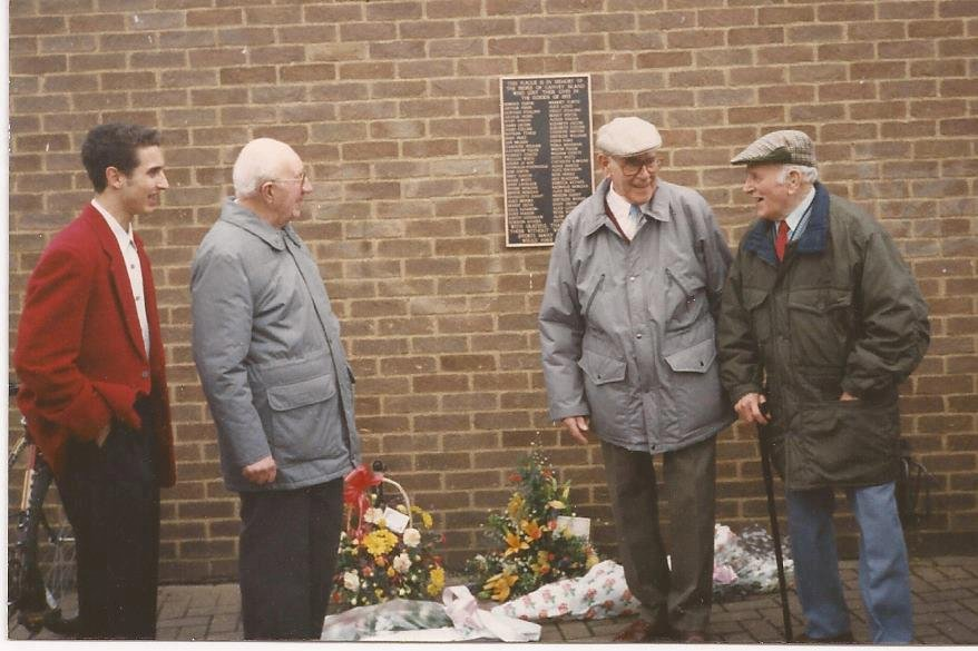Far left Vince Heatherson with Firemen Bill Hall, 80, George Blackwell, 79, and Sunny Blackwell, 84 at the unveiling of the original memorial Flood Plaque in 1997 | Liam Heatherson