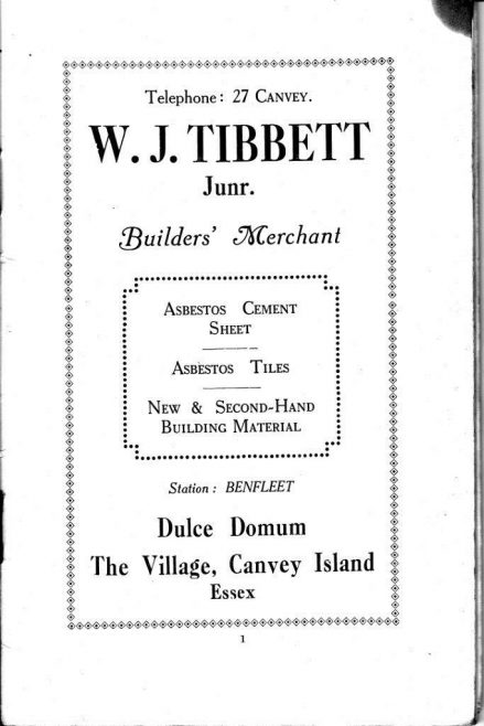 An advert from the 1925 Canvey Official Guide