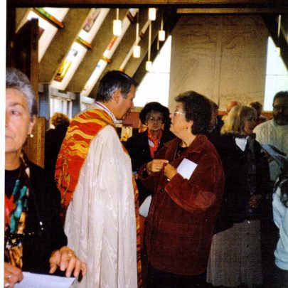 Bishop Stevens in Dec 2000 attending a 40th anniversary service of St Nicholas Church. | Wendy Knight