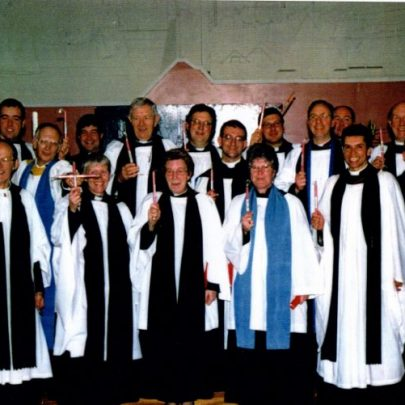 Dec 2000, Rev David Tudor with former curates and rectors who had served at St Nicholas Church. | Wendy Knight