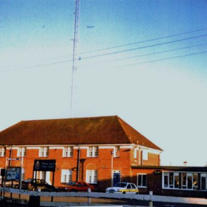 Canvey Police Station with its tall antenna behind it. | Wendy Knight