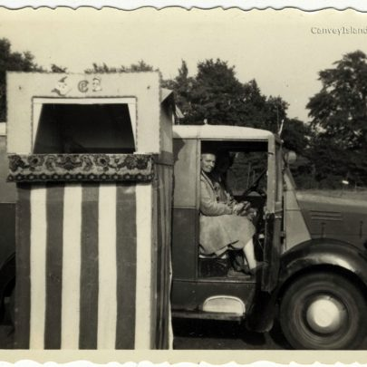 Winnie in the Van with her Punch & Judy Tent
